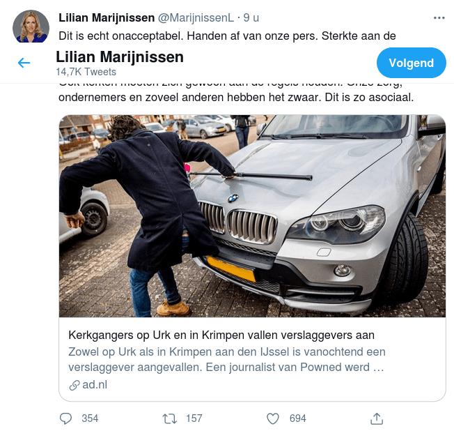 Lilian Marijnissen op twitter over geweld in Urk tegen jourmalisten