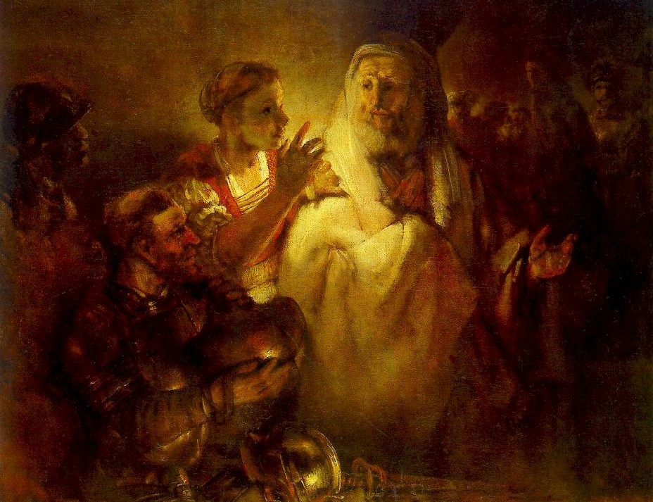 Petrus loochent dat hij Jezus kent - Rembrandt, 1660